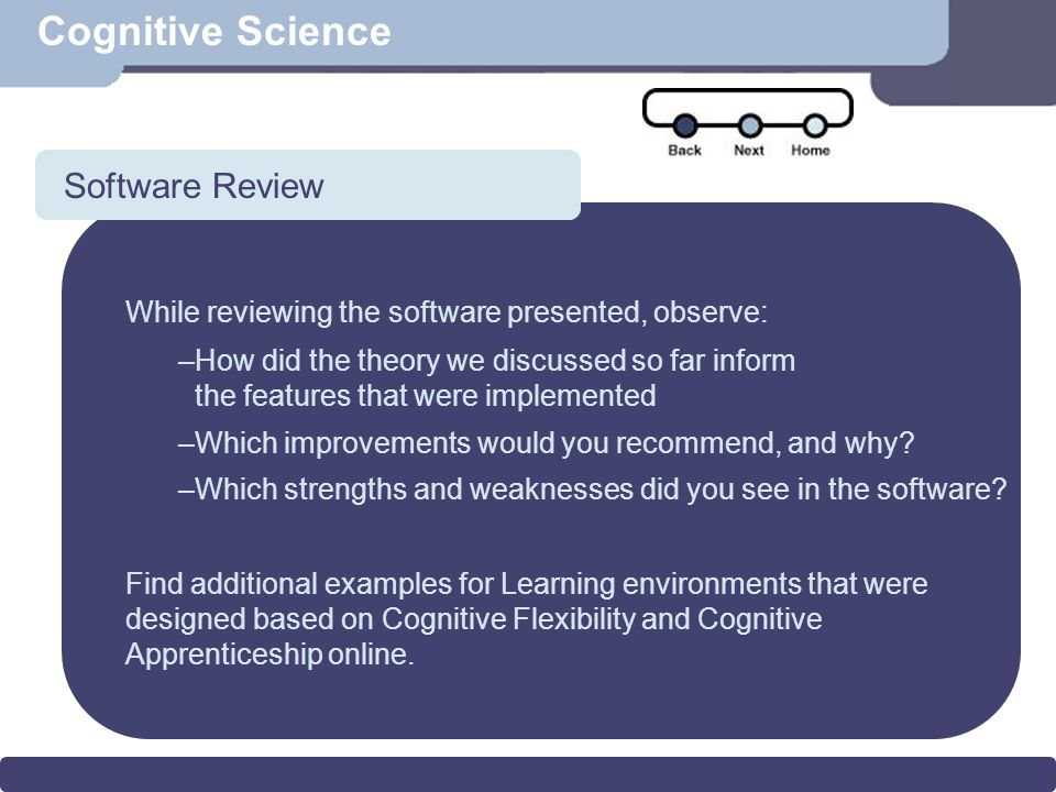 Scenario Cognitive Science Software Review While reviewing the software presented, observe: –How did the theory we discussed so far inform the features that were implemented –Which improvements would you recommend, and why.