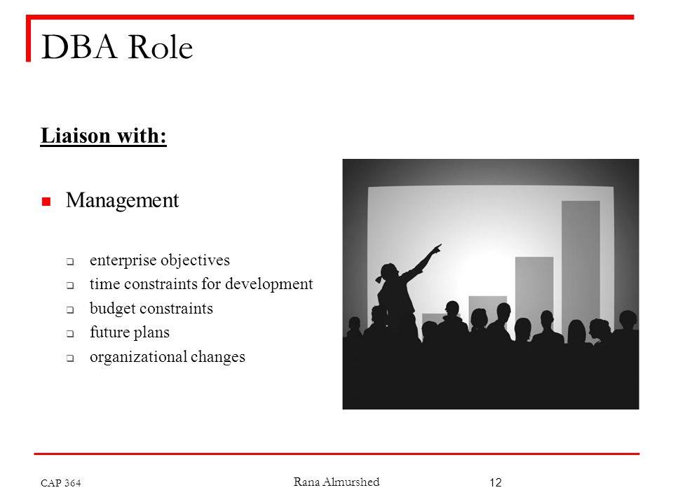 Rana Almurshed 12 DBA Role Liaison with: Management  enterprise objectives  time constraints for development  budget constraints  future plans  organizational changes CAP 364