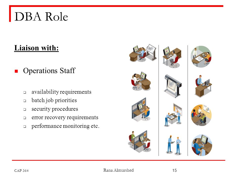 Rana Almurshed 15 DBA Role Liaison with: Operations Staff  availability requirements  batch job priorities  security procedures  error recovery requirements  performance monitoring etc.