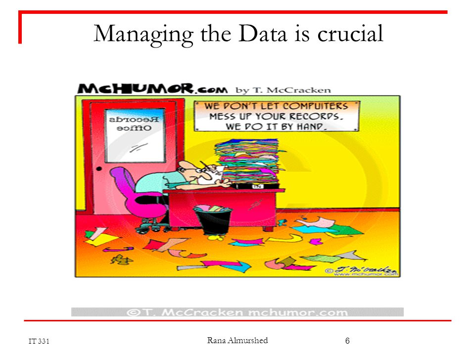 Managing the Data is crucial IT 331 Rana Almurshed 6