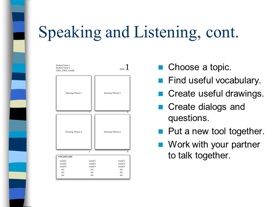 Speaking and Listening, cont. Choose a topic. Find useful vocabulary.