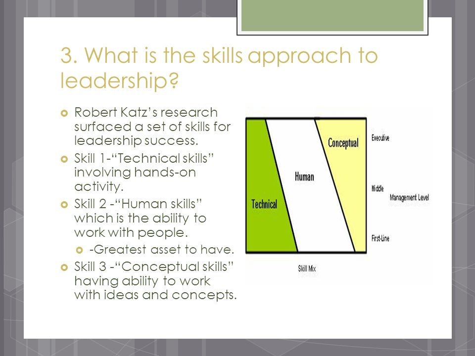 3. What is the skills approach to leadership.