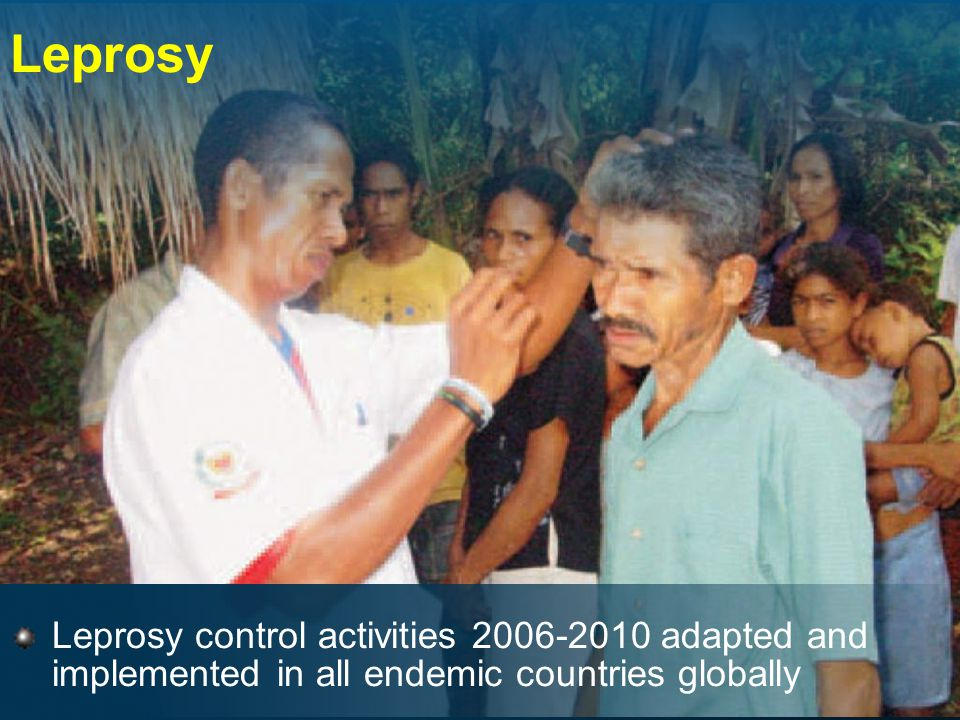 Leprosy Leprosy control activities adapted and implemented in all endemic countries globally