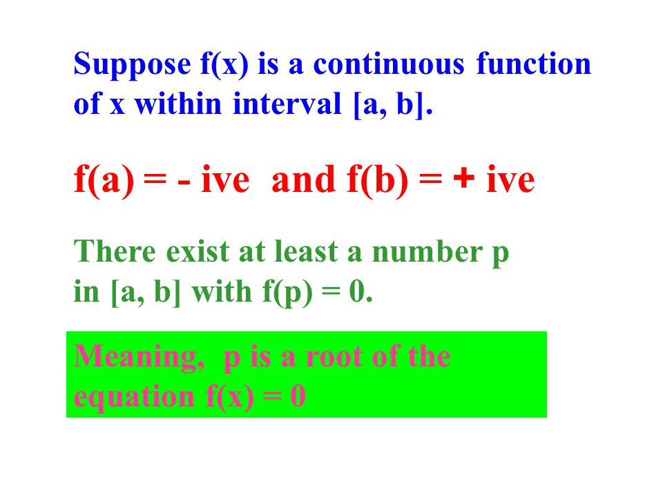 Suppose f(x) is a continuous function of x within interval [a, b].