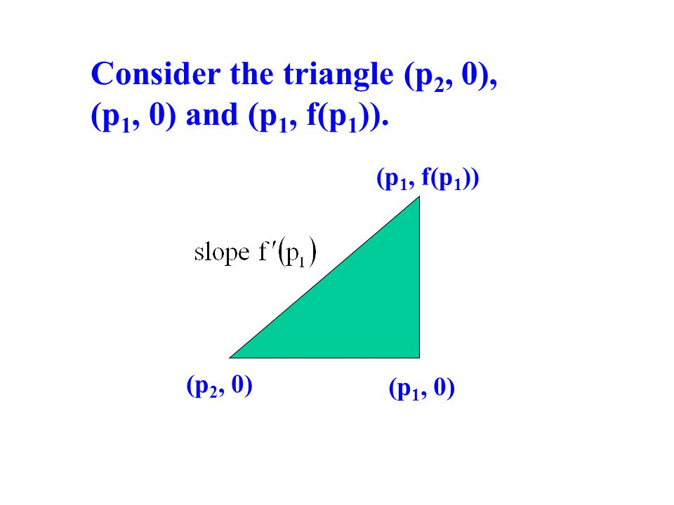 Consider the triangle (p 2, 0), (p 1, 0) and (p 1, f(p 1 )). (p 2, 0) (p 1, 0) (p 1, f(p 1 ))