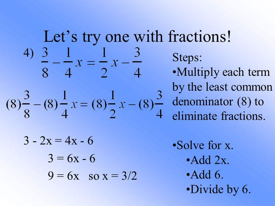 Solving Multistep Equations With Fractions And Variables On Both ...