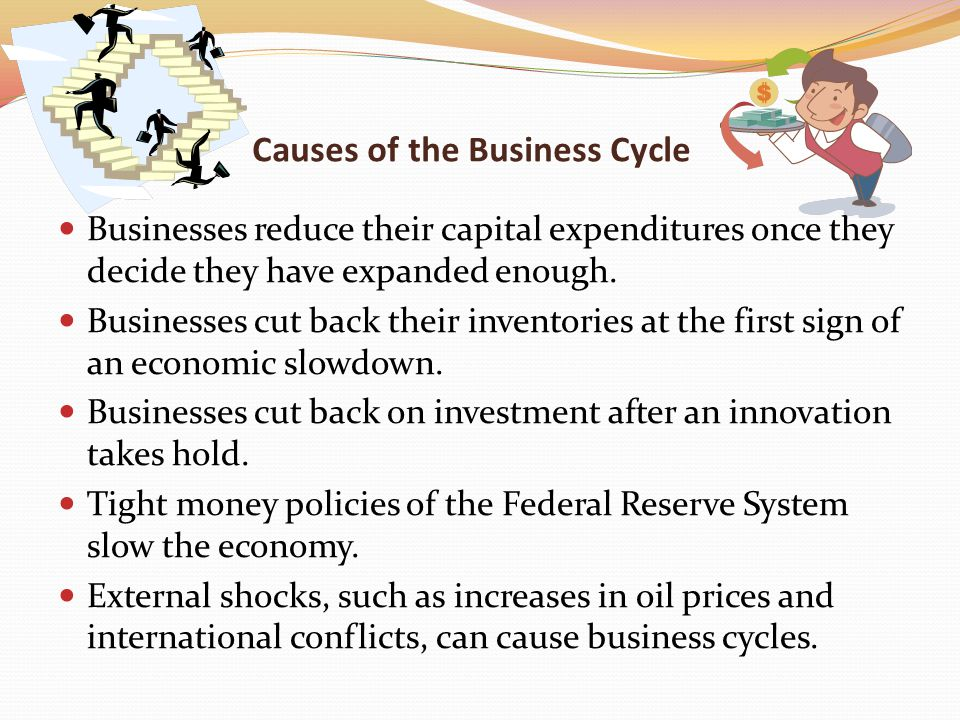 Causes of the Business Cycle Businesses reduce their capital expenditures once they decide they have expanded enough.