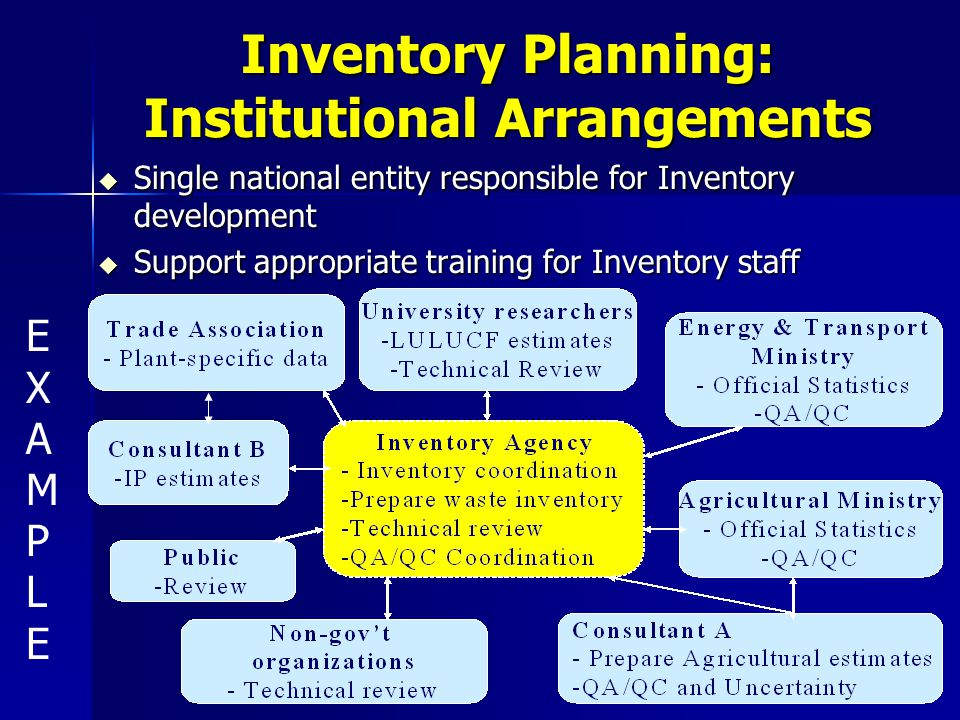 Inventory Planning: Institutional Arrangements u Single national entity responsible for Inventory development u Support appropriate training for Inventory staff EXAMPLEEXAMPLE