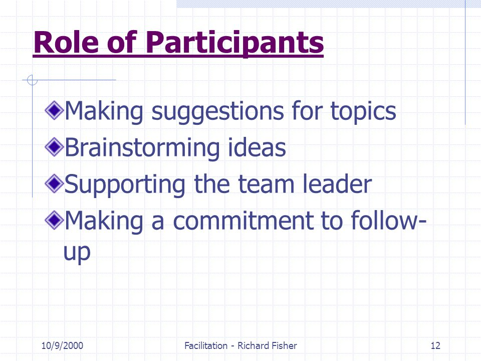10/9/2000Facilitation - Richard Fisher12 Role of Participants Making suggestions for topics Brainstorming ideas Supporting the team leader Making a commitment to follow- up