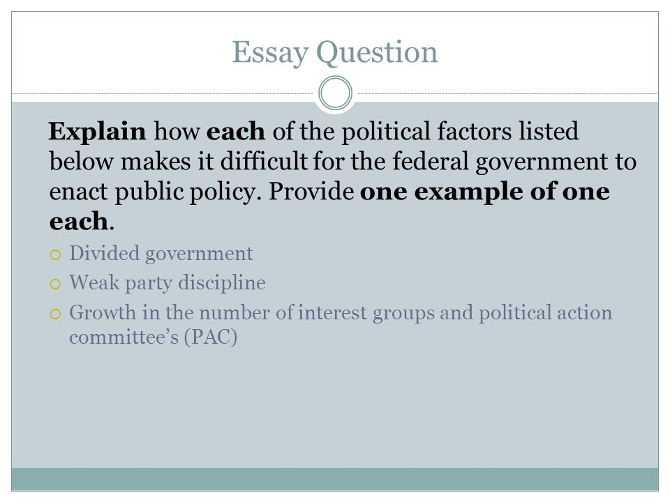 political party essay questions Chapter 12 political parties - study questions (w/answers) provide answers to the following questions 1)what is the difference between a winner-take-all system and a proportional representation system.