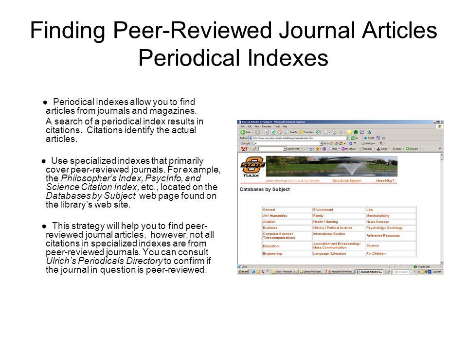 Peer Reviewed Journal on a Peer Reviewed Journal?