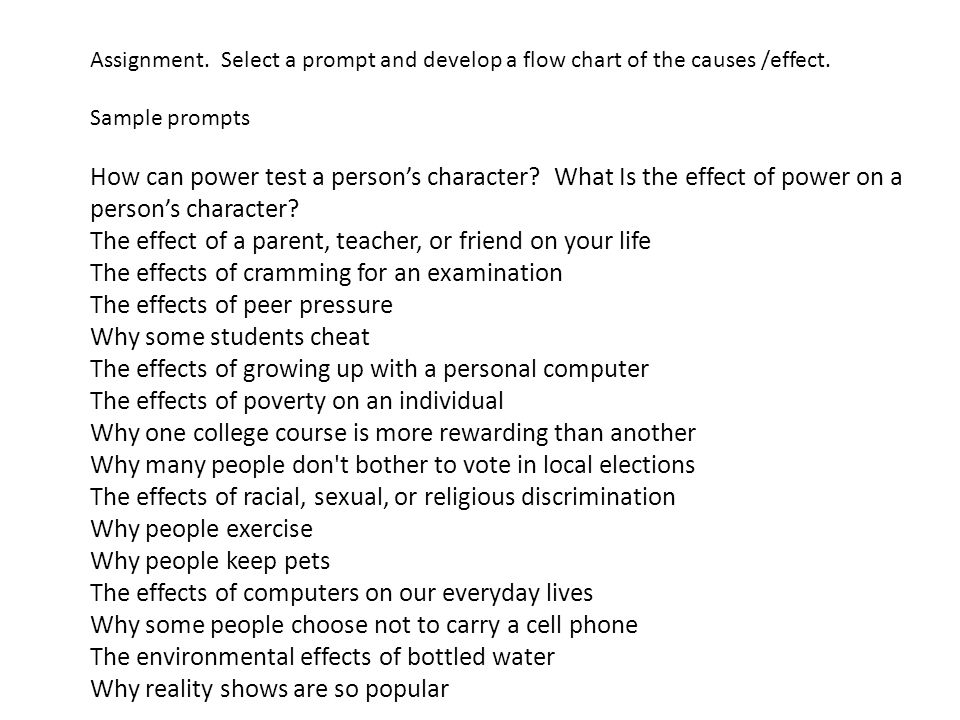 cause effect essay prompts