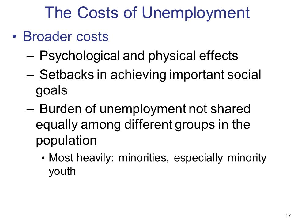 the causes and consequences of unemployment The causes and consequences of long-term unemployment in europe stephen machin and alan manning introduction one of the distinctive features of many current european labour markets is the high proportion of.