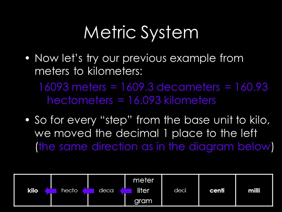 Metric System Now let's try our previous example from meters to kilometers: meters = decameters = hectometers = kilometers So for every step from the base unit to kilo, we moved the decimal 1 place to the left (the same direction as in the diagram below) kilo hectodeca meter liter gram deci centimilli
