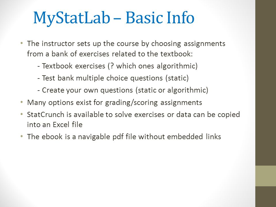 Aplia connect mystatlab or wileyplus which one is right for you mystatlab basic info the instructor sets up the course by choosing assignments from a bank fandeluxe Choice Image