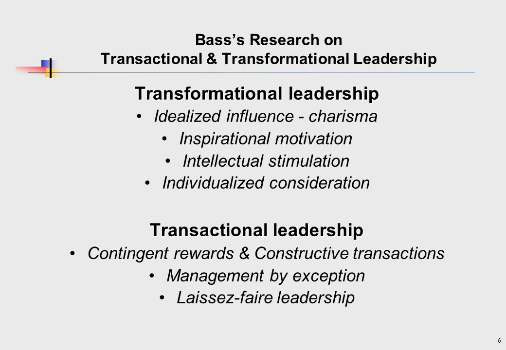 transformational vs transactional leadership essay This free management essay on essay: transformational and transactional theories is perfect for management students to use as an example.
