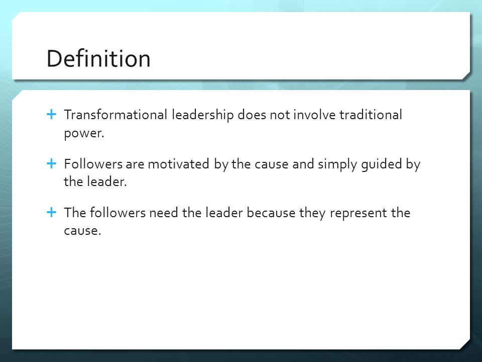 Defined  Transformational leadership is the process whereby a person engages with others and creates a connection that raises the level of motivation and morality in both the leader and the follower.