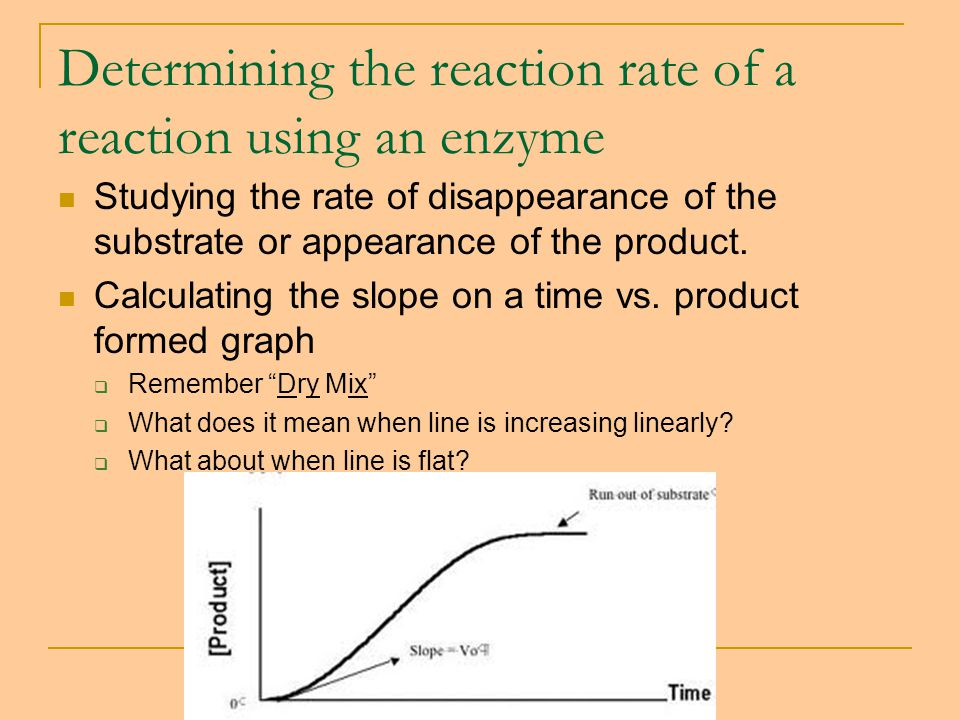 Determining the reaction rate of a reaction using an enzyme Studying the rate of disappearance of the substrate or appearance of the product.