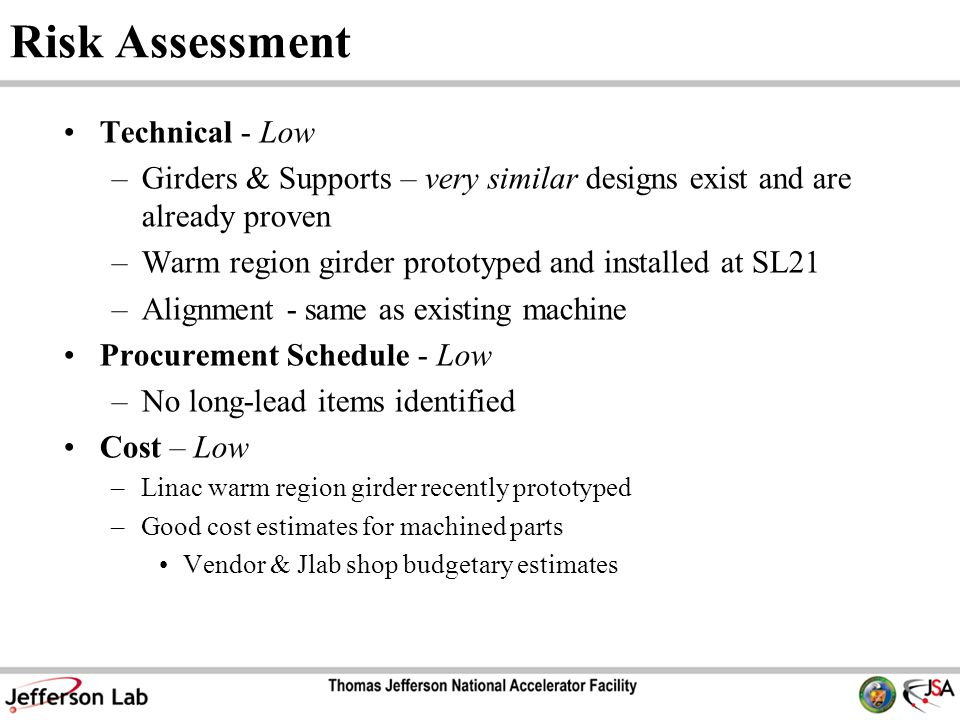 Risk Assessment Technical - Low –Girders & Supports – very similar designs exist and are already proven –Warm region girder prototyped and installed at SL21 –Alignment - same as existing machine Procurement Schedule - Low –No long-lead items identified Cost – Low –Linac warm region girder recently prototyped –Good cost estimates for machined parts Vendor & Jlab shop budgetary estimates