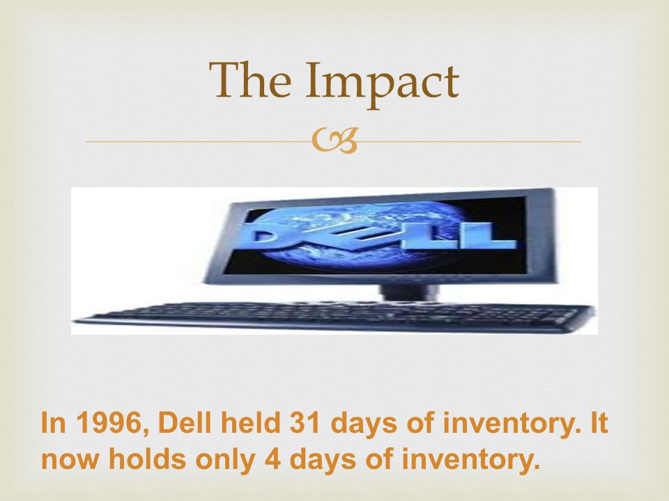  The Impact In 1996, Dell held 31 days of inventory. It now holds only 4 days of inventory.