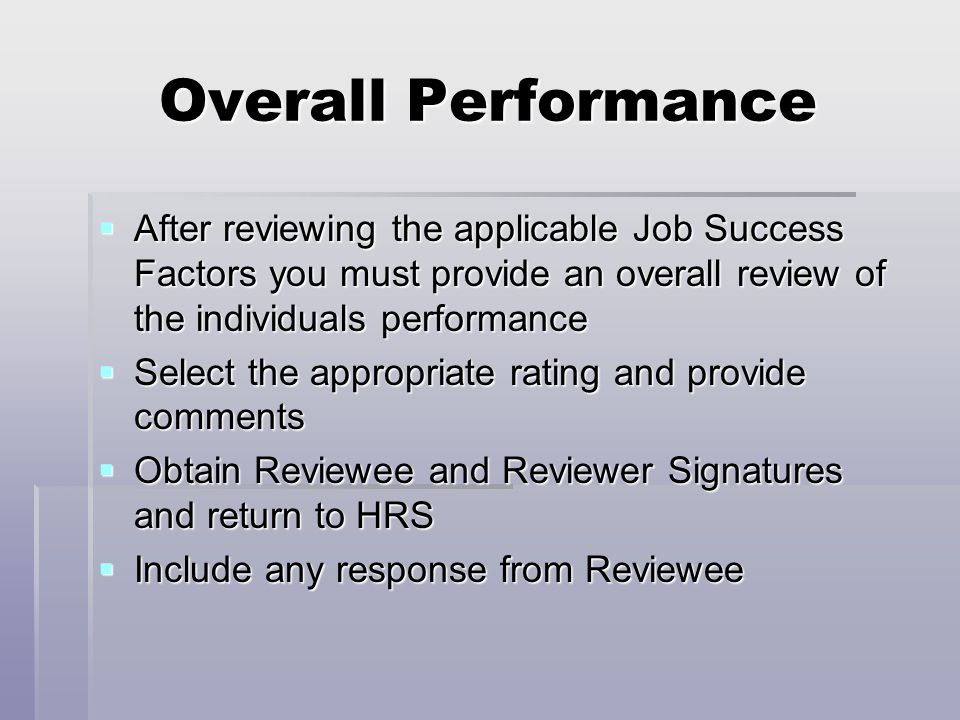 overall performance review