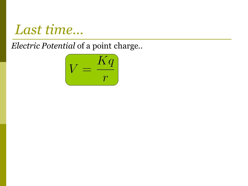 Electric Potential of a point charge.. Last time…