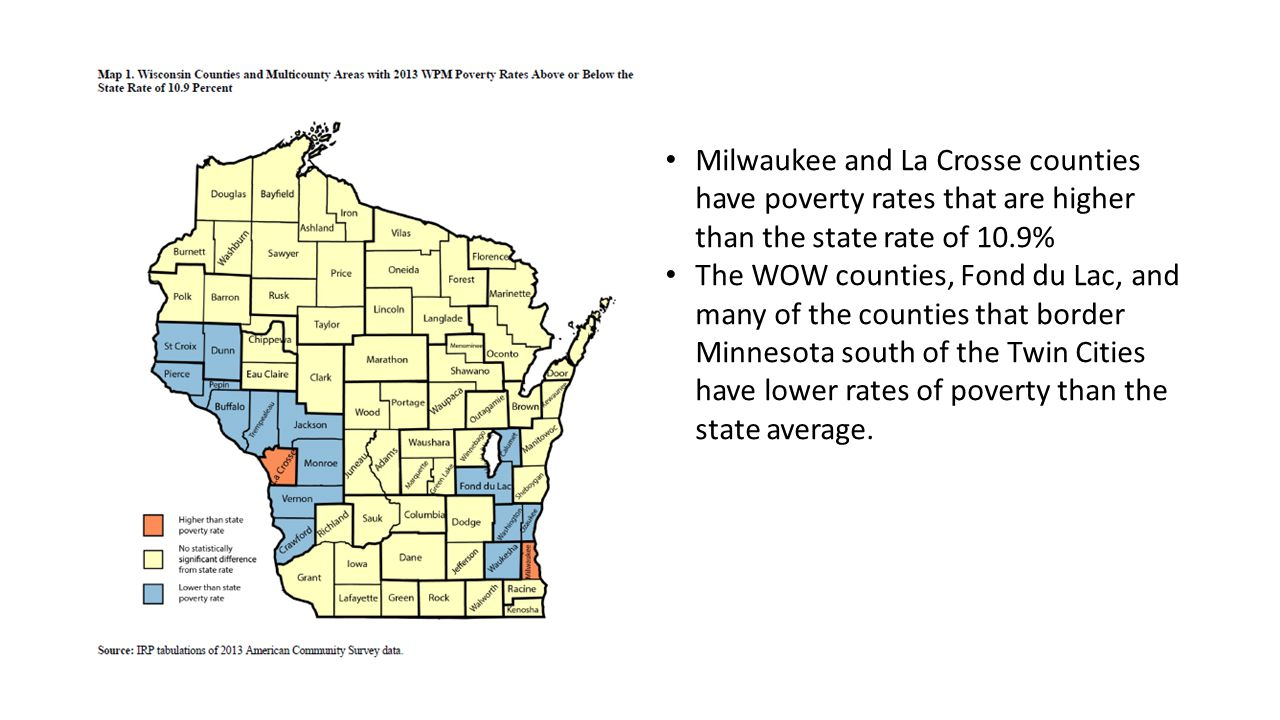 Milwaukee and La Crosse counties have poverty rates that are higher than the state rate of 10.9% The WOW counties, Fond du Lac, and many of the counties that border Minnesota south of the Twin Cities have lower rates of poverty than the state average.