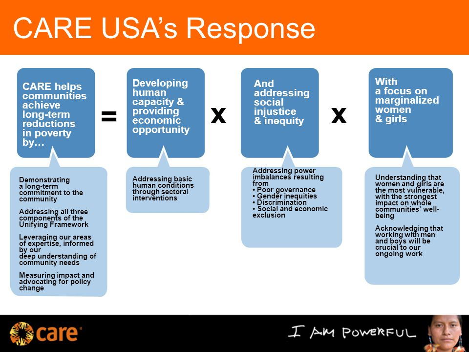 CARE USA's Response CARE helps communities achieve long-term reductions in poverty by… Developing human capacity & providing economic opportunity And addressing social injustice & inequity With a focus on marginalized women & girls Demonstrating a long-term commitment to the community Addressing all three components of the Unifying Framework Leveraging our areas of expertise, informed by our deep understanding of community needs Measuring impact and advocating for policy change Addressing basic human conditions through sectoral interventions Addressing power imbalances resulting from Poor governance Gender inequities Discrimination Social and economic exclusion Understanding that women and girls are the most vulnerable, with the strongest impact on whole communities' well- being Acknowledging that working with men and boys will be crucial to our ongoing work = xx