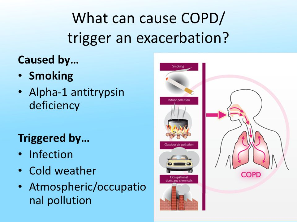 What can cause COPD/ trigger an exacerbation.