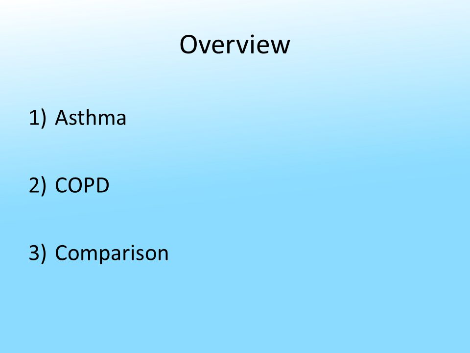 Overview 1)Asthma 2)COPD 3)Comparison