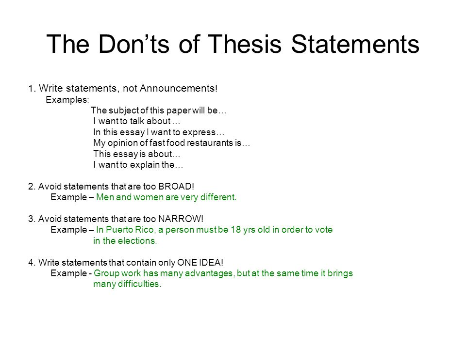 The First And Second Steps In Essay Writing Step  Begin With A  The Donts Of Thesis Statements  Write Statements Not Announcements