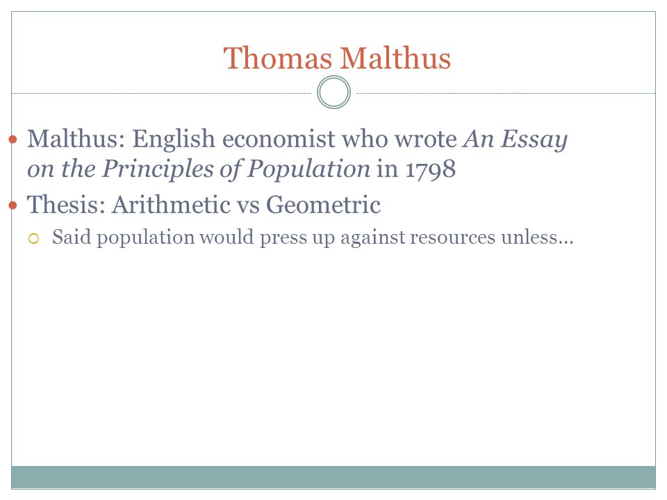 who published the essay on the principle of population