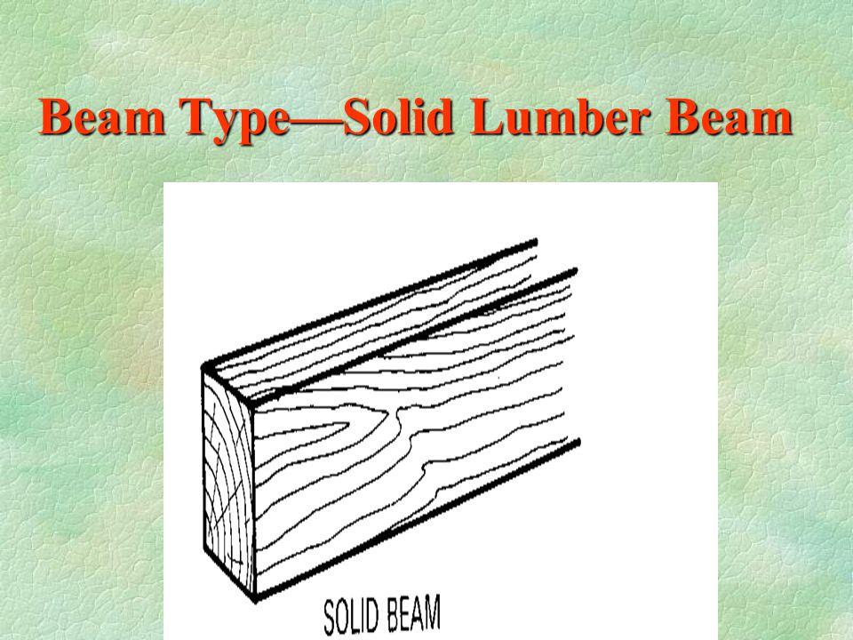 Beam Types §1--Solid timber beam §2--Built-up dimensional lumber beam §3--Glued Laminated beam §4--Parallel strand lumber beam (PSL) §5--Laminated ven