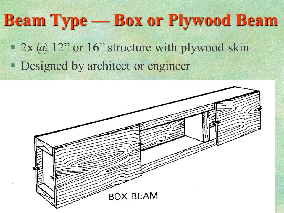 Beam Type — Truss I-Joist Beam §Laminated or Solid wood (top and bottom chords) §OSB or Plywood web