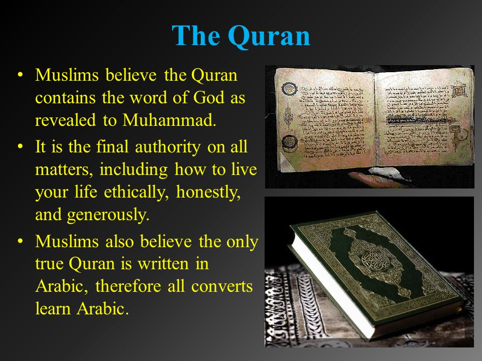 The Quran Muslims believe the Quran contains the word of God as revealed to Muhammad.