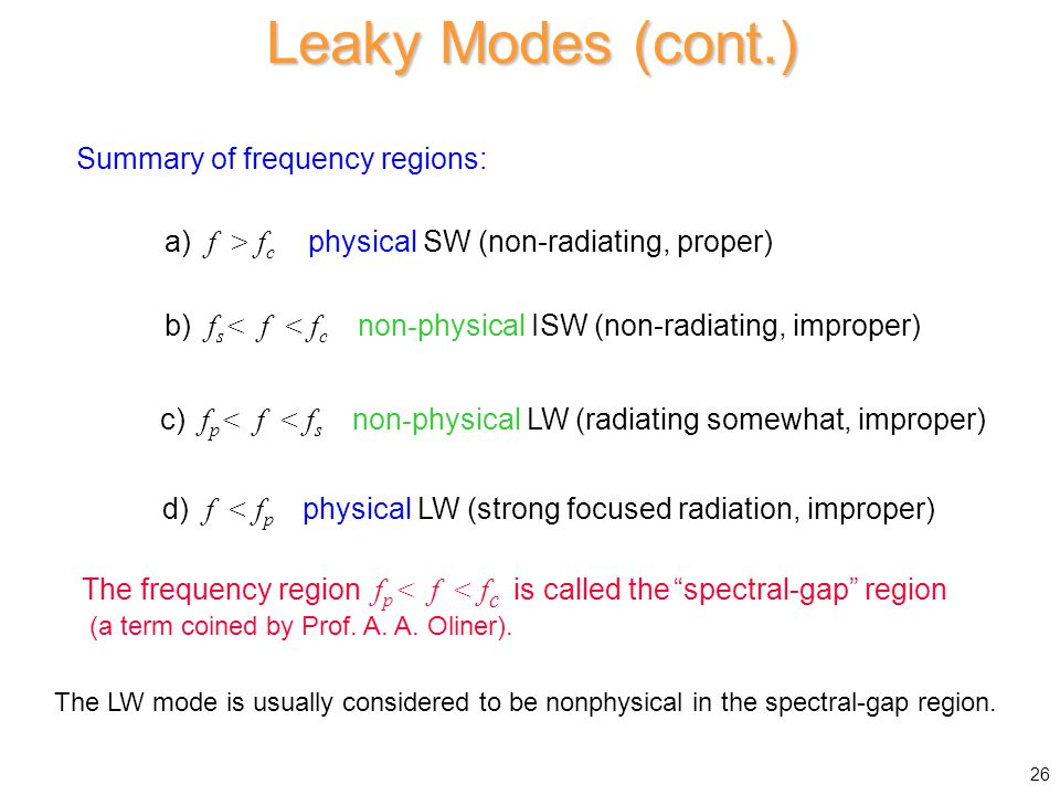 Leaky Modes (cont.) Summary of frequency regions: a) f > f c physical SW (non-radiating, proper) b) f s < f < f c non - physical ISW (non-radiating, improper) c) f p < f < f s non - physical LW (radiating somewhat, improper) d) f < f p physical LW (strong focused radiation, improper) The frequency region f p < f < f c is called the spectral-gap region (a term coined by Prof.