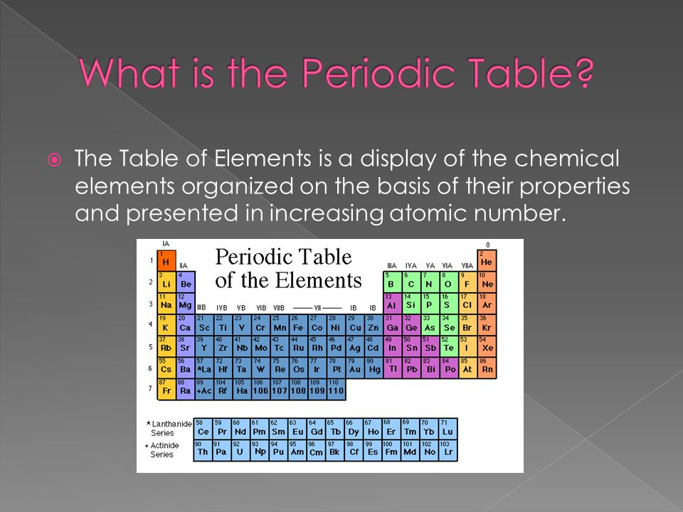  The Table of Elements is a display of the chemical elements organized on the basis of their properties and presented in increasing atomic number.