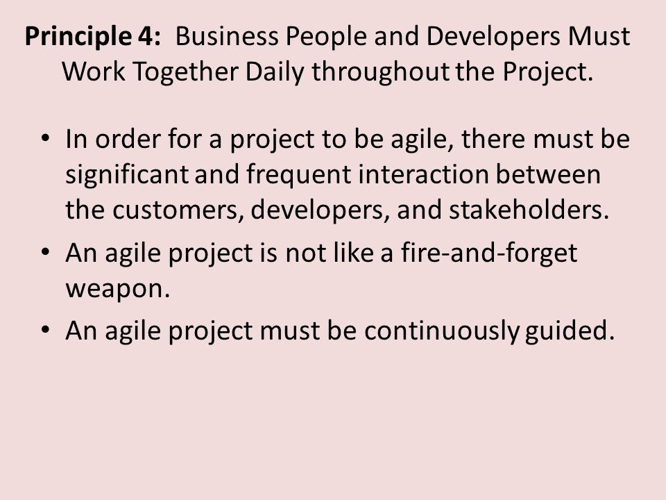Principle 4: Business People and Developers Must Work Together Daily throughout the Project.