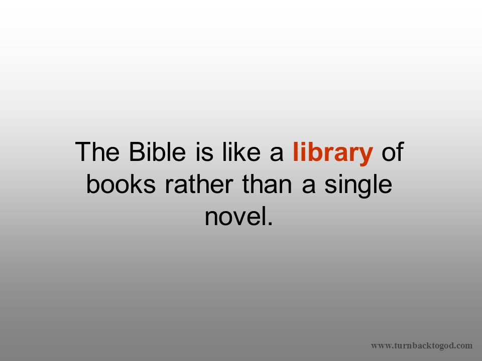 The Bible is like a library of books rather than a single novel.