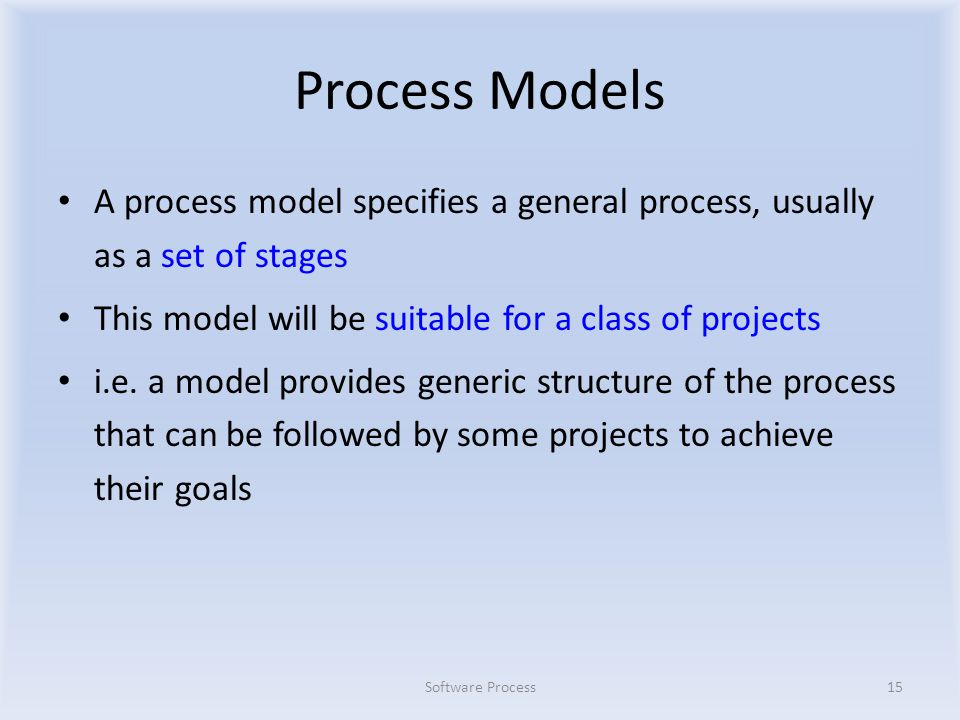 Process Models A process model specifies a general process, usually as a set of stages This model will be suitable for a class of projects i.e.