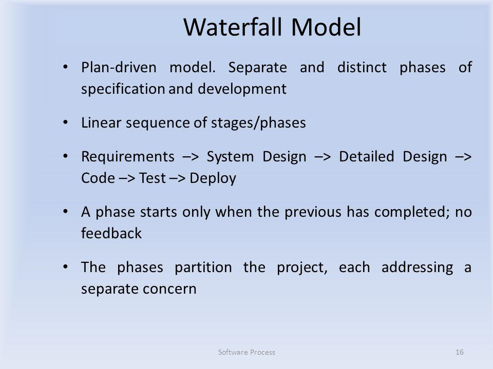 Waterfall Model Plan-driven model.
