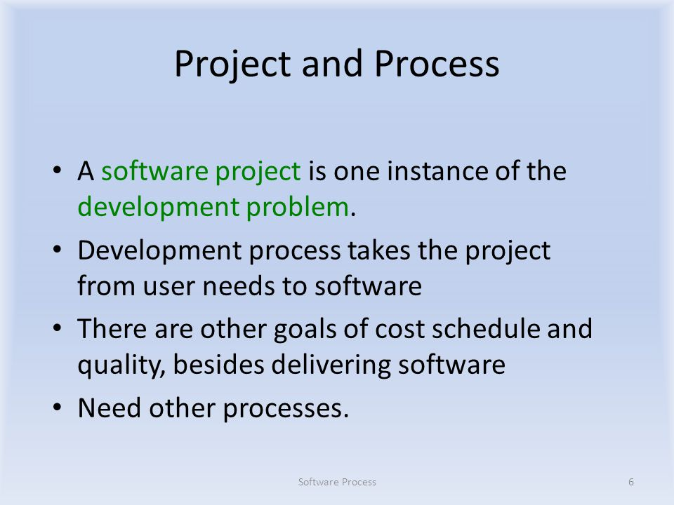 Project and Process A software project is one instance of the development problem.