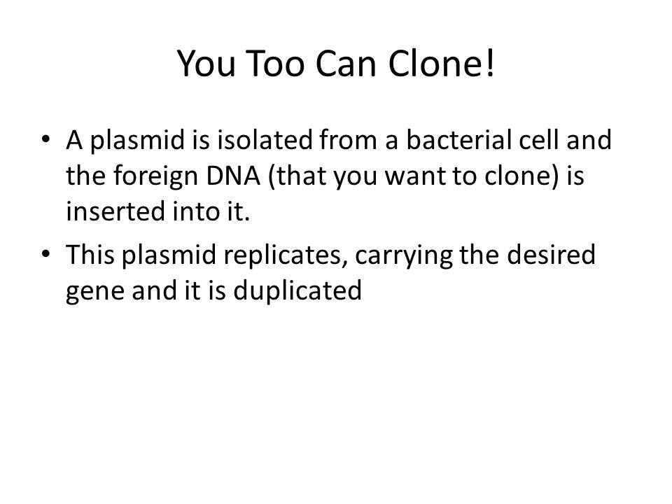 You Too Can Clone.