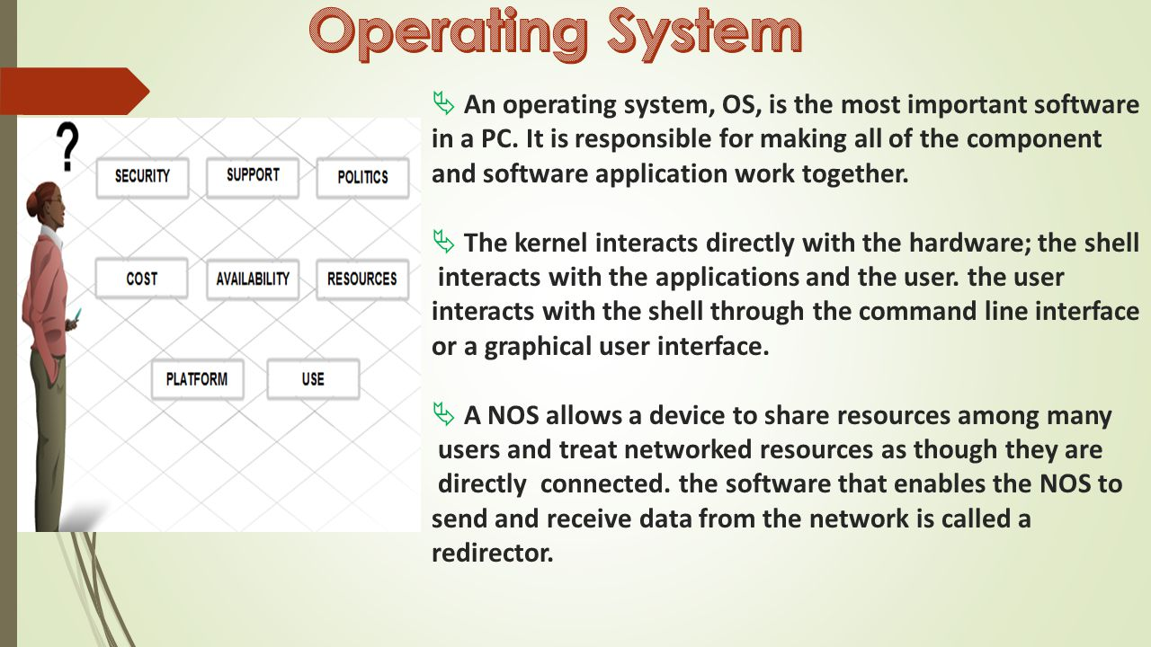  An operating system, OS, is the most important software in a PC.