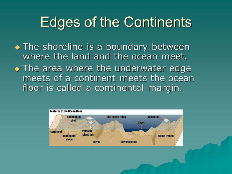 Edges of the Continents  The shoreline is a boundary between where the land and the ocean meet.