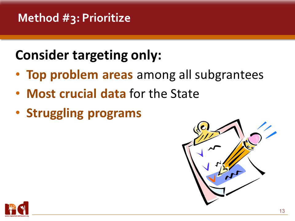 13 Method #3: Prioritize Consider targeting only: Top problem areas among all subgrantees Most crucial data for the State Struggling programs