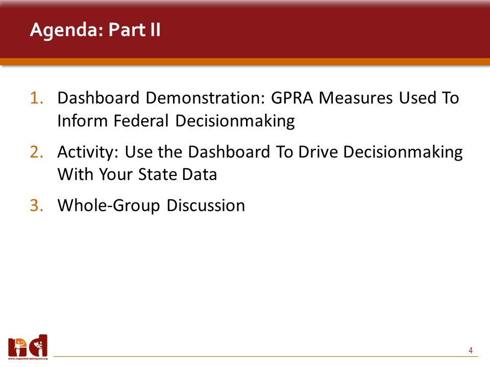 4 Agenda: Part II 1.Dashboard Demonstration: GPRA Measures Used To Inform Federal Decisionmaking 2.Activity: Use the Dashboard To Drive Decisionmaking With Your State Data 3.Whole-Group Discussion