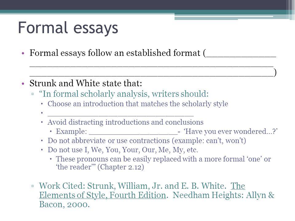 writing formal essay format