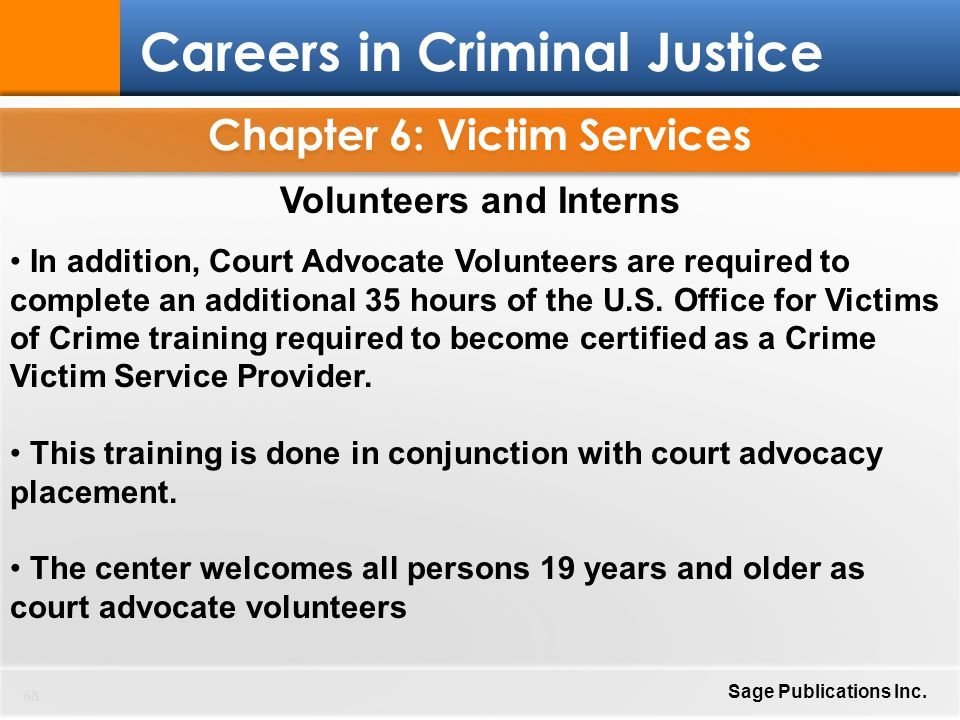 Chapter 6: Victim Services 68 Careers In Criminal Justice Sage Publications  Inc.