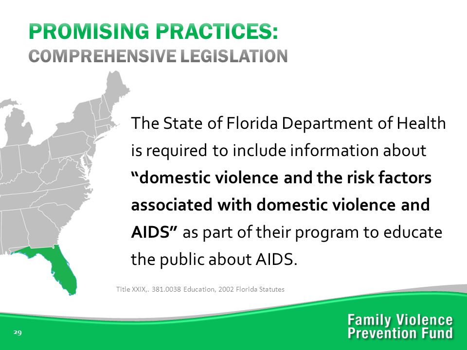 29 The State of Florida Department of Health is required to include information about domestic violence and the risk factors associated with domestic violence and AIDS as part of their program to educate the public about AIDS.